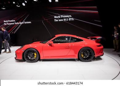 GENEVA 2017: Porsche 911 gt3 car on display at 87th international Geneva motor Show at Palexpo-Geneva on March 9, 2017 at Geneva, Switzerland.
