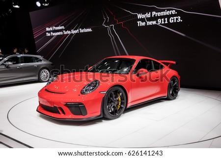 Geneva 2017 Porsche 911 Gt 3 Car Stockfoto Jetzt Bearbeiten