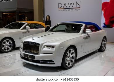 GENEVA 2017: Rolls-Royce Dawn car on display at 87th international Geneva motor Show at Palexpo-Geneva on March 9, 2017 at Geneva, Switzerland.
