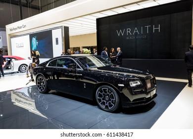 GENEVA 2017: Rolls-royce wraith black badge car on display at 87th international Geneva motor Show at Palexpo-Geneva on March 9, 2017 at Geneva, Switzerland.