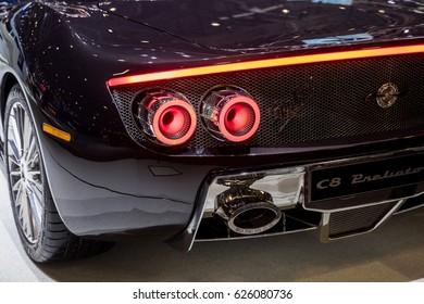 GENEVA 2017: Spyker C8 Preliator car on display at 87th international Geneva motor Show at Palexpo-Geneva on March 9, 2017 at Geneva, Switzerland.