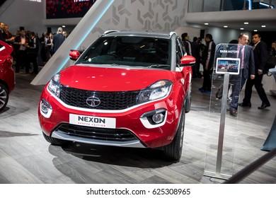 GENEVA 2017: Tata Nexon Geneva Edition car on display at 87th international Geneva motor Show at Palexpo-Geneva on March 9, 2017 at Geneva, Switzerland.