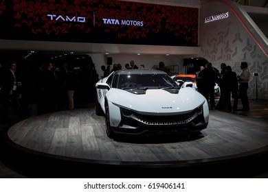 GENEVA 2017: Tata Tamo Racemo car on display at 87th international Geneva motor Show at Palexpo-Geneva on March 9, 2017 at Geneva, Switzerland.