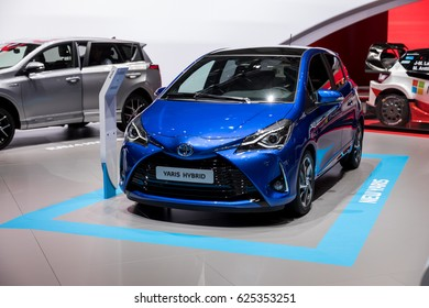 GENEVA 2017: Toyota Yaris Hybrid car on display at 87th international Geneva motor Show at Palexpo-Geneva on March 9, 2017 at Geneva, Switzerland.