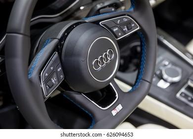 GENEVA 2017:Audi R8 V10 car on display at 87th international Geneva motor Show at Palexpo-Geneva on March 9, 2017 at Geneva, Switzerland.