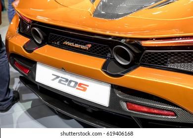 GENEVA 2017:Mclaren 720s car on display at 87th international Geneva motor Show at Palexpo-Geneva on March 9, 2017 at Geneva, Switzerland.