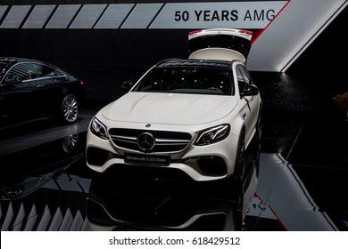 GENEVA 2017:Mercedes-AMG E 63 S Estate car on display at 87th international Geneva motor Show at Palexpo-Geneva on March 9, 2017 at Geneva, Switzerland.