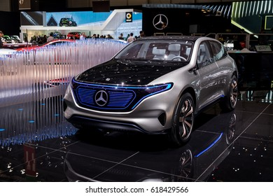 GENEVA 2017:Mercedes-Benz concept EQ electric intelligence car on display at 87th international Geneva motor Show at Palexpo-Geneva on March 9, 2017 at Geneva, Switzerland.