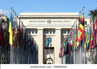 GENEVA - APRIL 28: Allee des Nations features flags of UN member countries on the grounds of the United Nations Office in Geneva on April 28, 2016.