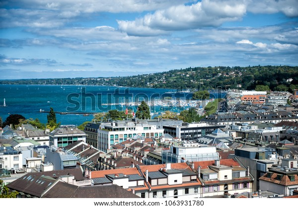 Geneva city from the view point in summer