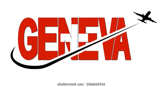 Geneva flag text with plane silhouette and swoosh illustration