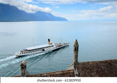 Geneva Lake from Chillon Castle, Switzerland.