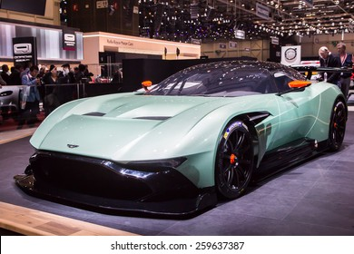 GENEVA, MAR 3: Aston Martin Vulcan, presented at the 85th International Motor Show in Geneva, Switzerland on March 3, 2015.
