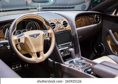 GENEVA, MAR 3: Bentley Exp 10 Speed 6 Concept car interior, presented at the 85th International Motor Show in Geneva, Switzerland on March 3, 2015.