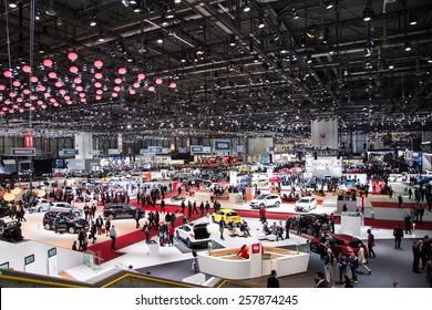 GENEVA, MAR 3: General view at the 85th International Motor Show in Geneva, Switzerland on March 3, 2015.