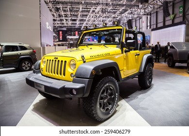 GENEVA, MAR 3: Jeep Wrangler Unlimited Rubicon, presented at the 85th International Motor Show in Geneva, Switzerland on March 3, 2015.