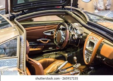 GENEVA, MAR 3: Pagani Huayra car interior, presented at the 85th International Motor Show in Geneva, Switzerland on March 3, 2015.