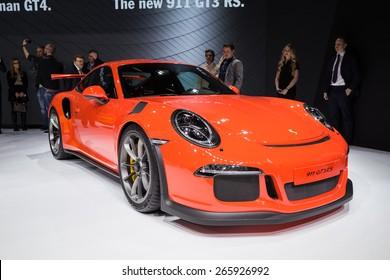 GENEVA, MAR 3: Porsche 911 GT3 RS car, presented at the 85th International Motor Show in Geneva, Switzerland on March 3, 2015.