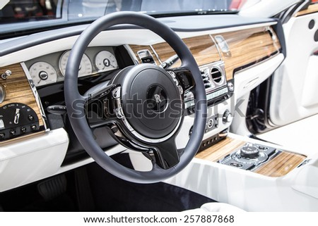 Geneva Mar 3 Rolls Royce Car Interior Stock Photo Edit Now