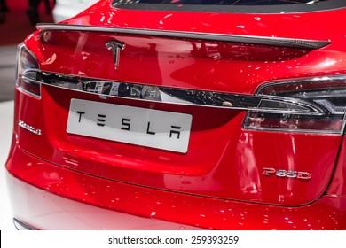 GENEVA, MAR 3: Tesla Model S P85D, presented at the 85th International Motor Show in Geneva, Switzerland on March 3, 2015.