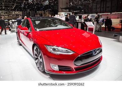 GENEVA, MAR 3: Tesla Model S P85D car interiors, presented at the 85th International Motor Show in Geneva, Switzerland on March 3, 2015.