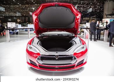 GENEVA, MAR 3: Tesla Model S P85D front trunk, presented at the 85th International Motor Show in Geneva, Switzerland on March 3, 2015.