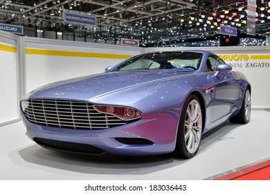 GENEVA, MAR 4: Aston Martin Zagato displayed at the 84th International Motor Show International Motor Show in Geneva, Switzerland on March 4, 2014.