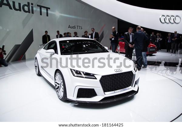 GENEVA, MAR 4: Audi Quattro, presented at the 84th International Motor Show in Geneva, Switzerland on March 4, 2014.