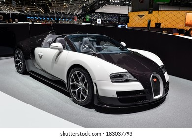 GENEVA, MAR 4: Bugatti Veyron displayed at the 84th International Motor Show International Motor Show in Geneva, Switzerland on March 4, 2014.