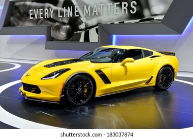 GENEVA, MAR 4: Corvette C7 displayed at the 84th International Motor Show International Motor Show in Geneva, Switzerland on March 4, 2014.