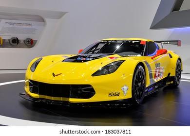 GENEVA, MAR 4: Corvette GTR Race Car displayed at the 84th International Motor Show International Motor Show in Geneva, Switzerland on March 4, 2014.
