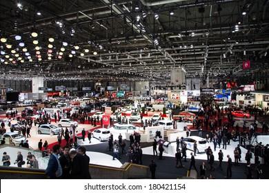 GENEVA, MAR 4: General view at the 84th International Motor Show in Geneva, Switzerland on March 4, 2014.