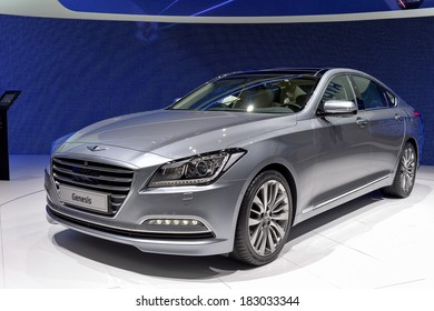 GENEVA, MAR 4: Hyundai Genesis displayed at the 84th International Motor Show International Motor Show in Geneva, Switzerland on March 4, 2014.