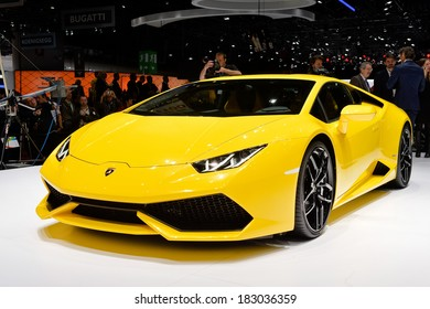 GENEVA, MAR 4: Lamborghini Huracan displayed at the 84th International Motor Show International Motor Show in Geneva, Switzerland on March 4, 2014.