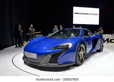 GENEVA, MAR 4: McLaren 650S displayed at the 84th International Motor Show International Motor Show in Geneva, Switzerland on March 4, 2014.
