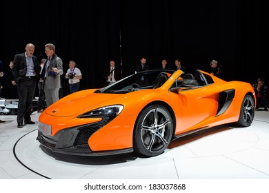 GENEVA, MAR 4: McLaren 650S Spider displayed at the 84th International Motor Show International Motor Show in Geneva, Switzerland on March 4, 2014.