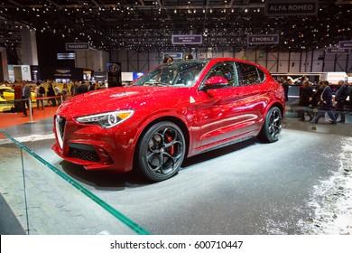 GENEVA - MARCH 07: The 2017 Alfa Romeo Stelvio Quadrifoglio on show at the Geneva Motor Show at the Palexpo Convention Centre, March 07, 2017 in Geneva, Switzerland