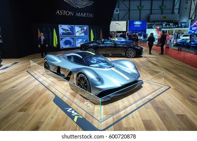 GENEVA - MARCH 07: The 2017 Aston Martin AM-RB001 Valkyrie on show at the Geneva Motor Show at the Palexpo Convention Centre, March 07, 2017 in Geneva, Switzerland