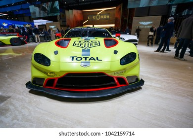 GENEVA - MARCH 07: The 2018 Aston Martin Vantage GTE Racecar on show at the Geneva Motor Show at the Palexpo Convention Centre, March 07, 2018 in Geneva, Switzerland