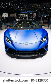 GENEVA - MARCH 07: The 2018 Lamborghini Huracan Performante Spyder on show at the Geneva Motor Show at the Palexpo Convention Centre, March 07, 2018 in Geneva, Switzerland
