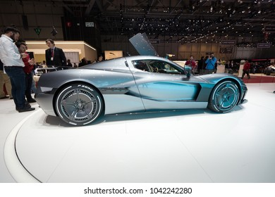 GENEVA - MARCH 07: The 2018 Rimac Concept Two on show at the Geneva Motor Show at the Palexpo Convention Centre, March 07, 2018 in Geneva, Switzerland