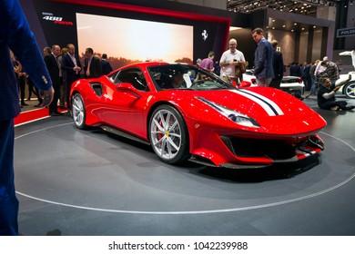 GENEVA - MARCH 07: The Ferrari 488 Pista on show at the Geneva Motor Show at the Palexpo Convention Centre, March 07, 2018 in Geneva, Switzerland
