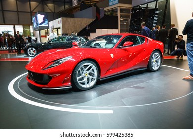 GENEVA - MARCH 07: The Ferrari 812 Superfast on show at the Geneva Motor Show at the Palexpo Convention Centre, March 07, 2017 in Geneva, Switzerland