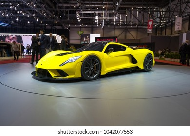 GENEVA - MARCH 07: The Hennessey Venom F5 on show at the Geneva Motor Show at the Palexpo Convention Centre, March 07, 2018 in Geneva, Switzerland