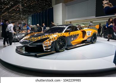 GENEVA - MARCH 07: The McLaren Senna GTR on show at the Geneva Motor Show at the Palexpo Convention Centre, March 07, 2018 in Geneva, Switzerland