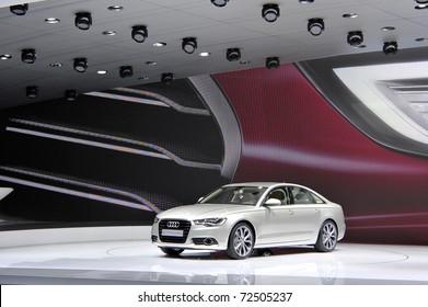 GENEVA - MARCH 1: The new Audi A6 on display at Geneva International Motor Show at Palexpo Geneva Centre, March 1, 2011 in Geneva, Switzerland.