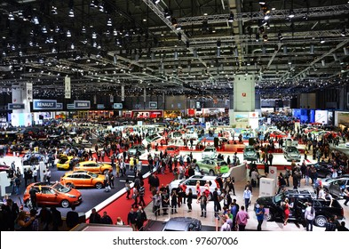 GENEVA - MARCH 12: Various makes and models of cars are on display at the 82nd International Motor Show on March 12, 2012 in Geneva, Switzerland.