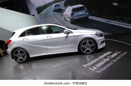 GENEVA - MARCH 16 : Mercedes Classe A on display at the 82st International Motor Show Palexpo -Geneva on March 16; 2012 in Geneva, Switzerland.