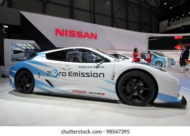 GENEVA - MARCH 16 : the Nissan Leaf Nismo RC zero emission on display at the 82nd International Motor Show Palexpo - Geneva on March 16; 2012 in Geneva, Switzerland.
