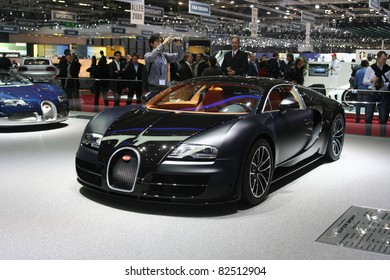 GENEVA - MARCH 2: The Bugatti Veyron Super Sport on display at the 81st International Motor Show Palexpo-Geneva on March 2, 2011 in Geneva, Switzerland.